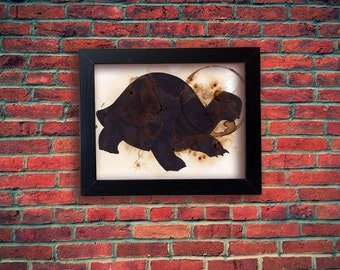 Coffee Art- Turtle Silhouette Print 8x10 matted to 5x7 First Edition by Craig Peterson