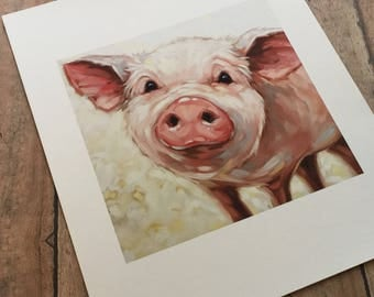 "6x6""  Print of original oil painting of sweet piggy by Andrea Lavery, pig art, pig art print"