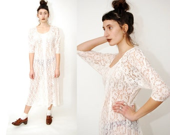 vintage SHEER DRESS (M) floral 80s Lace gown midi maxi gothic grunge goth glam 90s white nu soft medium cyber digital see through scoop neck