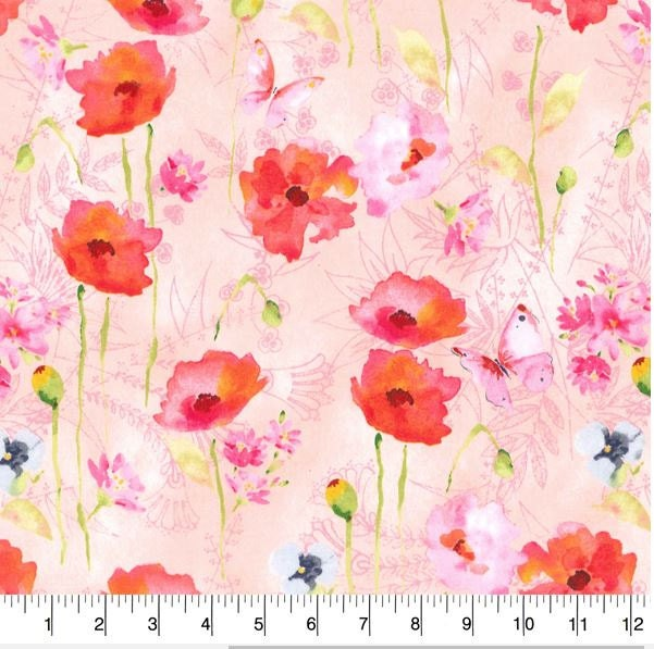 Floral fabric by the yard quilt cotton nursery pink red for Floral nursery fabric