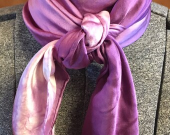 Wild Rags - Hand dyed Silk Charmeuse  44 x 44 Square Scarf in Plum - Washable Scarf - Cowboy - Motorcycle - Gift- Rolled Edge Scarf