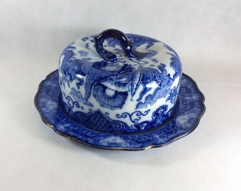 Vintage cheese dish Victorian Royal Doulton covered plate food server dome cover lid chinoiserie blue white china cakes pastries cupcakes