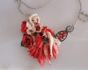 the rose doll polymer clay neckelace