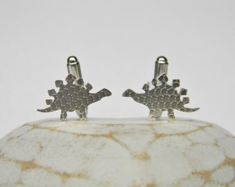 Eco Silver Patterned Stegosaurus Cufflinks
