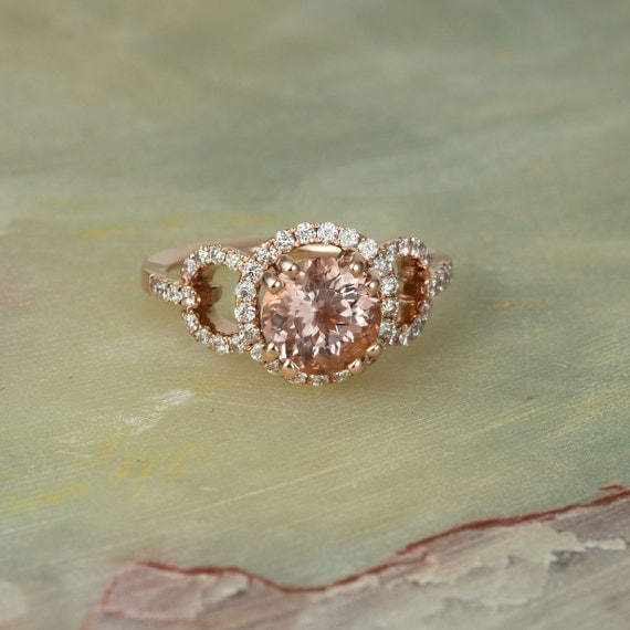 Rose Gold Solid 14K Diamond Engagement Ring Center Is A 8MM Round Morganite
