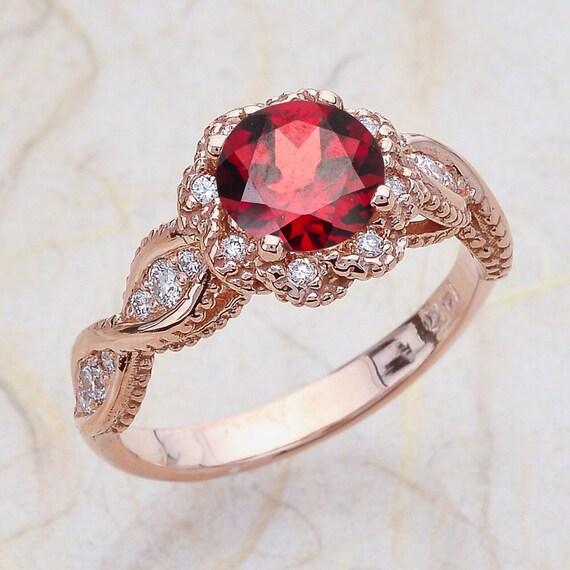 Vintage Rose Gold Engagement Ring 14K Center Is 6.5MM Round Garnet