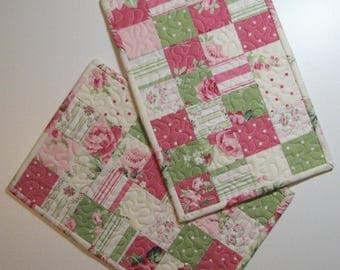 Quilted Mug Mat Set, Quilted Snack Mats, Quilted Candle Mats, Shabby Cottage Chic Floral Mats, Set of 2, Quiltsy Handmade