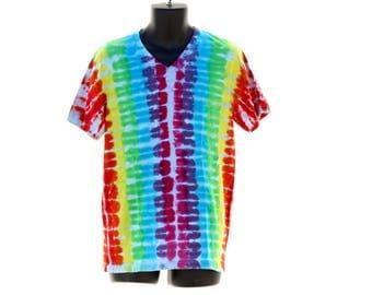 Tie Dye V-Neck, Rainbow T-Shirt, Spiral Tie Dye Shirt, Psychedelic Mens V-Neck