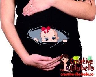funny maternity shirt peek a boo - funny maternity clothes - pregnancy shirt - cm166