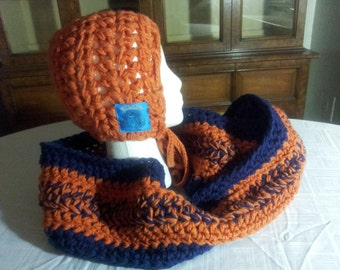 Based in NYC - The Best Handmade Crocheted Blue and Orange Infinity Scarf with Invisible Pocket and Hood Hat. Hood can be attached/detached