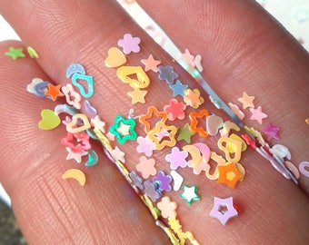 Sequin Glitter Confetti Hearts Stars Shapes 3 mm Slime Nail Art Crafting Tiny shapes Rainbow Multicolor small mini miniature confetti shiny