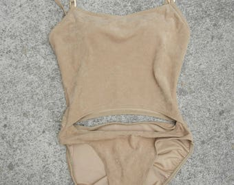 Women's vintage Be Creative By Body ID Tan Brown suede cut out one piece swimsuit bathing suit size Medium