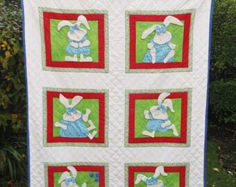 Patchwork Quilt Unique Super Cute Appliqué  SUPER SOFT Cotton BUNNIES Designed handmade and hand quilted New Patchwork quilt Appliqued throw