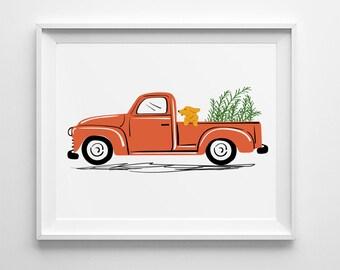 Vintage Red Pickup Truck Illustration, dog art, nursery wall art, nursery decor, country decor, folk art, vintage car illustration, Ford
