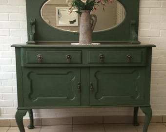 Vintage Edwardian olive green, upcycled/restyled  buffet/sideboard/dresser,with bevelled edge mirror.