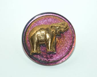 Purple & Gold Glass Elephant Button Size 1 1/4""