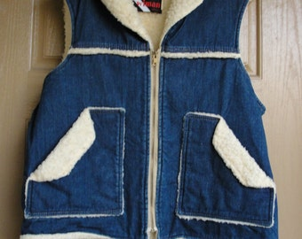 Wiman 70s 1970s denim vest XL extra large men's insulated