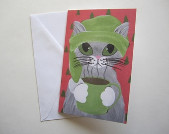 Cat with Coffee Holiday Card, Grey Cat Christmas Card, Cat with Coffee Holiday Card by Amber Maki