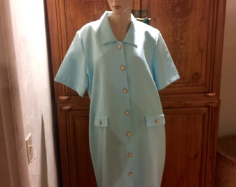 Retro Vintage 60s Anthony Richards Blue White Pinstriped Poly Pearl Button Scooter Short Shirt Dress Mod Retro Secretary Dress L/XL 20