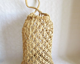 Vintage Straw Macrame Extra Large Beach Bucket Bag