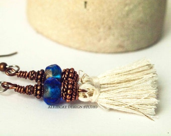 Bohemian Earrings | Boho Earrings | Gypsy Blue White Tassel Earrings | NEW