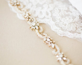 Narrow bridal sash, bridal sash, bridal belt, gold sash - Style R97