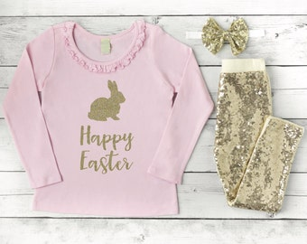 Easter Outfit Baby Girl Toddler Girl Easter Outfit Happy Easter Kids Shirt 014