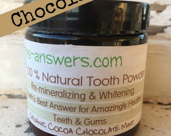 Organic Dark Cocoa Chocolate Mint Tooth Powder Tooth Whitener, Sensitive Teeth, Re-mineralize
