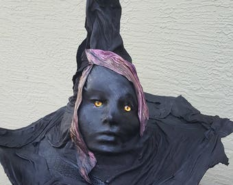 Leather face wizard/witch fantasy hat