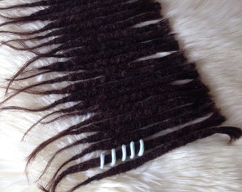 23 natural dreadlock extensions Human hair - Darkbrown black mix - Incl dreadbead. Crochet knotty