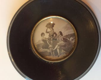 Antique English small  ebony wood black lacquer print in convex glass