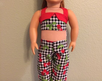 Retro Cherry Pant Set For 18 inch Doll
