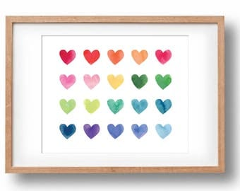 Watercolour Hearts Landscape, Rainbow Art Print, Custom Art, Gift for Girls, Printable Art, Nursery wall decor: INSTANT DOWNLOAD