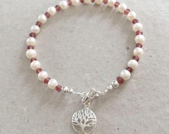 Garnet & Pearl Bracelet, Sterling Silver Tree of Life Charm Bracelet, White Pearl Bracelet, Red Garnet Jewellery, Bridal Jewellery,