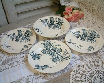 Antique french teal blue transferware ironstone plates. Birds in tree branches. Bird art. Birds in cherry trees. Summer fruits.