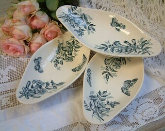 Set of 3 Antique french teal transferware oval side dishes. Teal transferware. Jasmine. Butterflies. Blue green transferware. French country