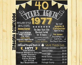 Gold 40th Birthday Chalkboard 1977 Poster 40 Years Ago in 1977 Born in 1977 40th Birthday Gift INSTANT DOWNLOAD