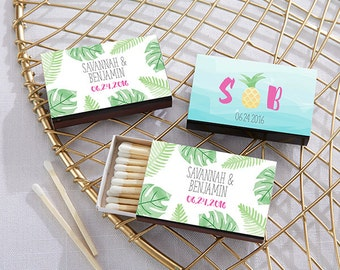 Personalized Wedding Matches - Set of 50 with Pineapple or Palms Design - Beach and Destination Wedding Favors (28257-PP)