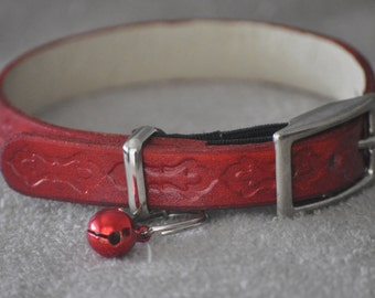 Ella Selection Classy Red Leather Cat Collar