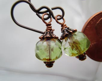 Faceted Green Swirl Czech Glass Earrings Sparkly Little Feminine Earrings Hypoallergenic Niobium Ear Wires Cute Little Girly Earrings