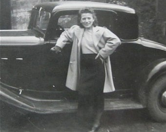1930's Pretty Woman Shows Off Her New Car Snapshot Photo - Free Shipping