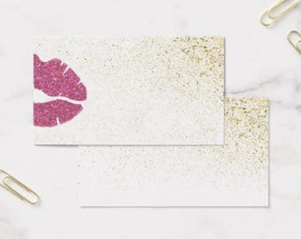 Business Card Template, LIPSENSE/SENEGENCE, Front and Back, Glitter&Pink Lips, Instant Download DIY Blank Business Card Template