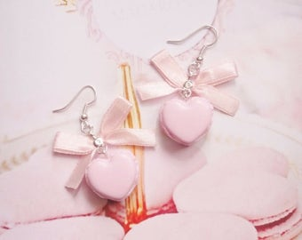 earrings pink heart macarons