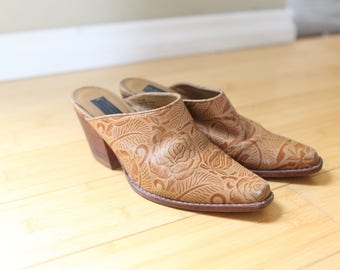 vintage cowboy western inlay brown leather clogs mules womens 6 1/2