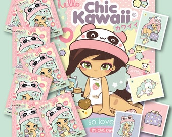 Chic Kawaii full  Stickers album with 7 envelopes with 35 stickers to complete your self, super cute and wonderful