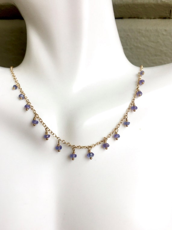 Tanzanite drop Necklace Delicate Jewelry Minimalist Crown Chakra Jewelry Psychic Protection Third Eye Chakra Clairvoyance