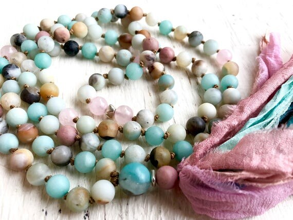 108 Amazonite Mala Beads Rose Quartz Rhodonite Healing Heart Chakra Mala Silk Sari Tassel Necklace Yoga Jewelry Meditation Beads