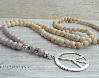 Boho, Hippie Holzperlenkette Glas Peace White wood