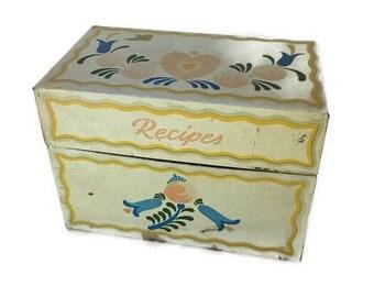 Vintage Recipe Tin Box, Made in USA by Ohio Art Co. Pennsylvania Dutch Decor Recipes Metal Box