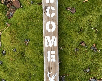 Vertical Driftwood WELCOME Sign with Deer Head Silhouette ; Rustic Decor, Outside or Inside